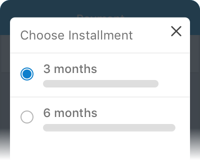 Select the 0% installment plan of your choice