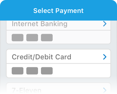 Select Credit Card as payment method