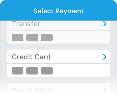 Select Credit Card payment method